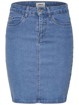 ONLY Damen Jeans Rock onlKISS HIGH WAISTED SKIRT mittel Bleistift Stretch blau – Bild 1