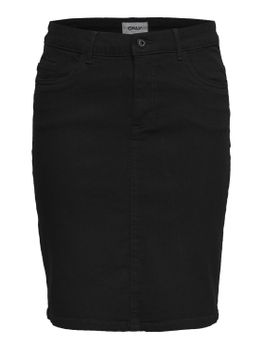 ONLY Damen Jeans Rock onlKISS HIGH DNM SKIRT PIM001 NOOS Bleistift Stretch schwarz