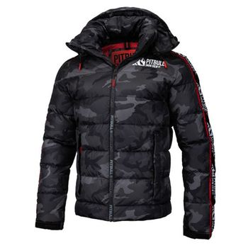 PIT BULL WEST COAST Herren Winterjacke Jacke PADDED HOODED JACKET AIRWAY all black camo – Bild 1