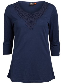 ONLY Damen T-Shirt ELAINE CROCHET 3/4 LONG TOP blau schwarz – Bild 2