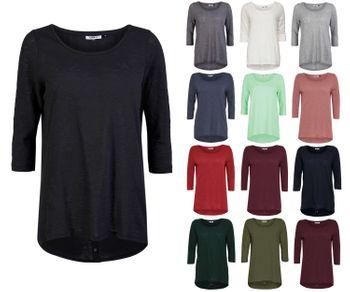 ONLY Damen Pullover Shirt onlCASA 3/4 BUTTON TOP JRS NOOS vokuhila oversize