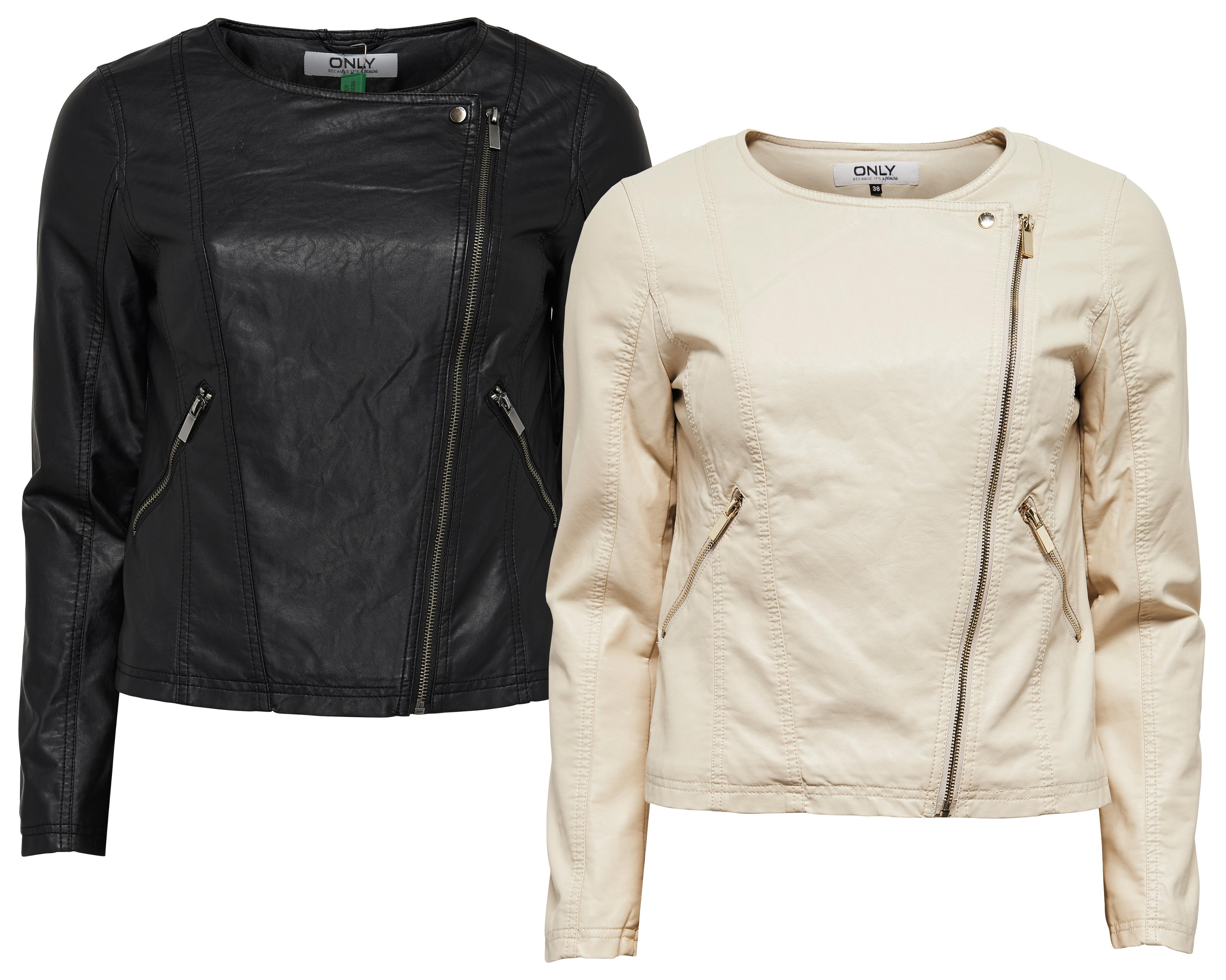 only damen lederjacke jacke onljana cropped pu biker jacket creme kunstleder marken only. Black Bedroom Furniture Sets. Home Design Ideas
