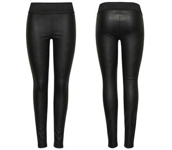 ONLY Damen PU Leggings SIMPLE JANE FAUX LEATHER NOOS Kunstleder black schwarz