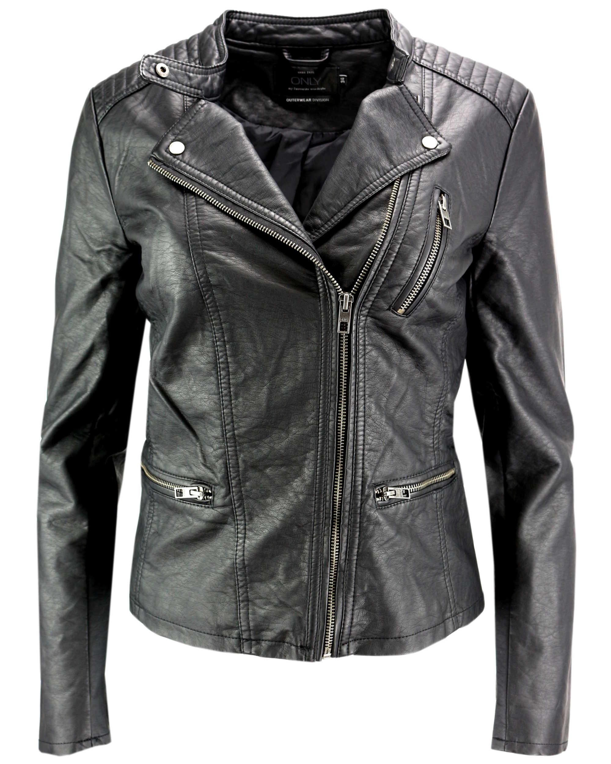 only damen lederjacke jacke freya faux leather biker noos kunstleder marken only. Black Bedroom Furniture Sets. Home Design Ideas
