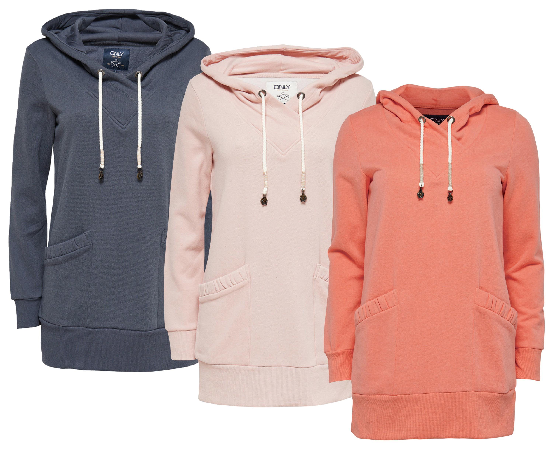 hot sale online 09ebe fe164 ONLY Damen Sweatshirt Sweat Pullover onlNORA L/S HOOD LONG SWT blau orange  rosa
