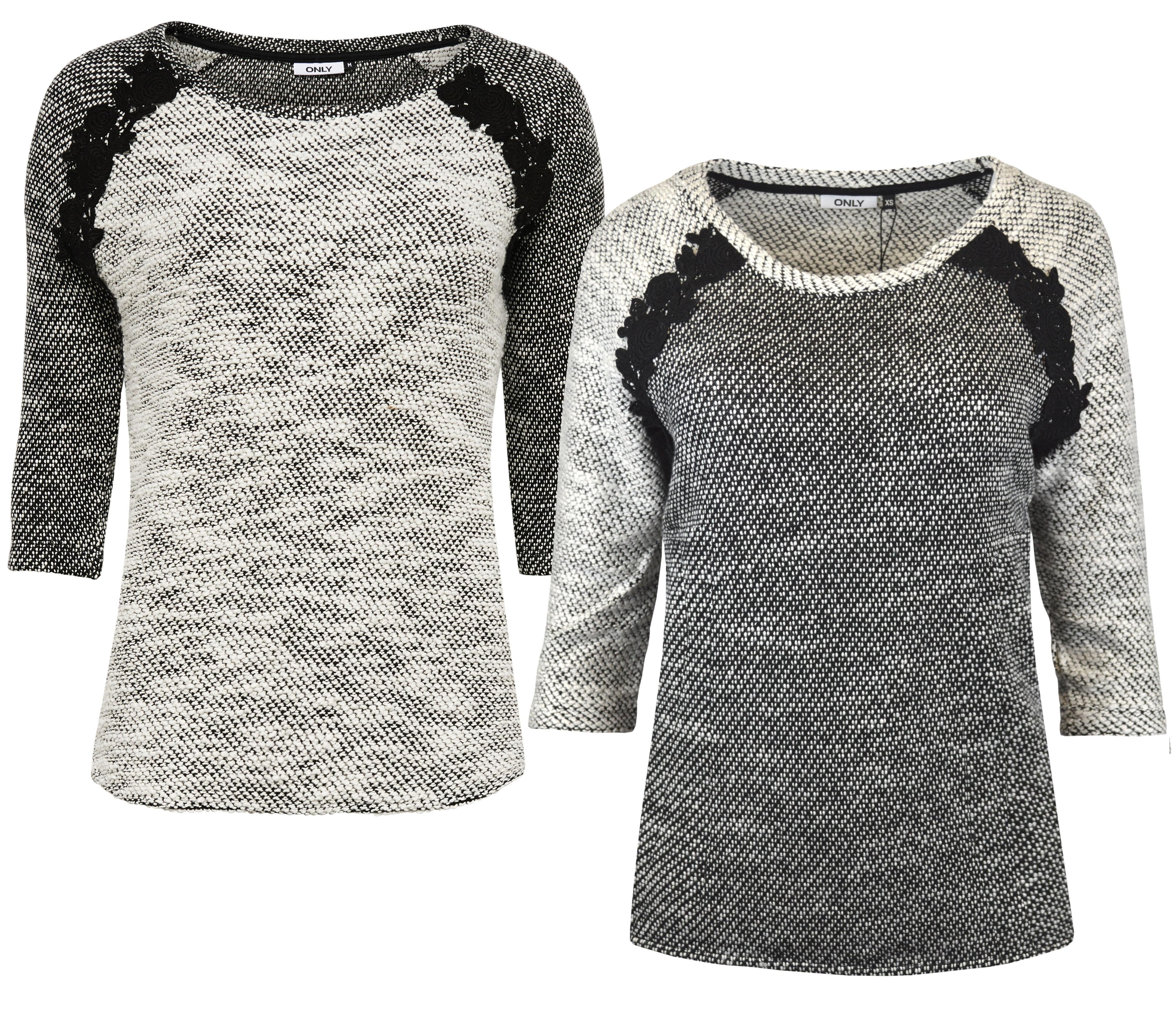 ONLY Damen Pullover Shirt NORMA CROCHET 3 4 TOP Grob-Strick Spitze schwarz  weiß 699e4ffefe