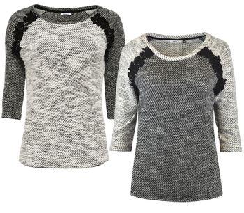 ONLY Damen Pullover Shirt NORMA CROCHET 3/4 TOP Grob-Strick Spitze schwarz weiß – Bild 1