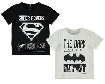 NAME IT Kinder Jungen T-Shirt SUPERHERO LUKE SS TOP Superman Batman Dark Night