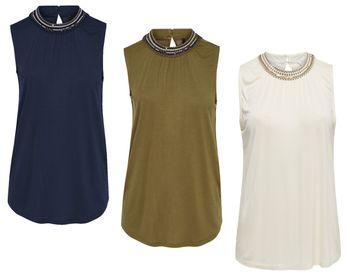 ONLY Damen Shirt onlNEW KATHERINA S/L TOP JRS blau creme olive