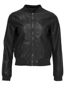 ONLY Damen Bomber Jacke Lederjacke ADELE FAUX LEATHER JACKET schwarz