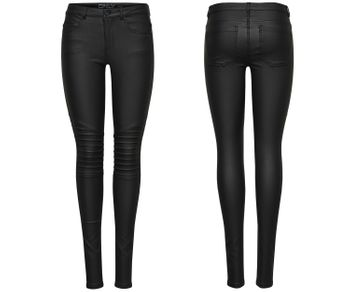 ONLY Damen Hose Jeans Leggings onlNEW ROYAL REG SK. BIKER COATED NOOS schwarz
