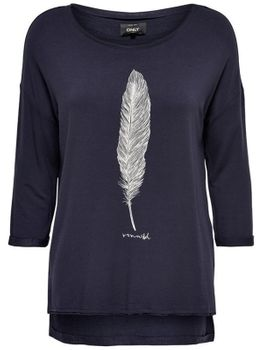 ONLY Damen Sweat Pullover Shirt onlCLARA SPIRIT/DREAM 3/4 BOX SWT Top vokuhila – Bild 2
