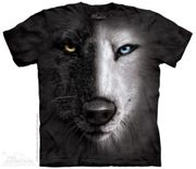 Black & White Wolf Face T Shirt