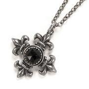 Halskette Anhänger Maltese Cross Fleur de Lis Set Gothic Silber