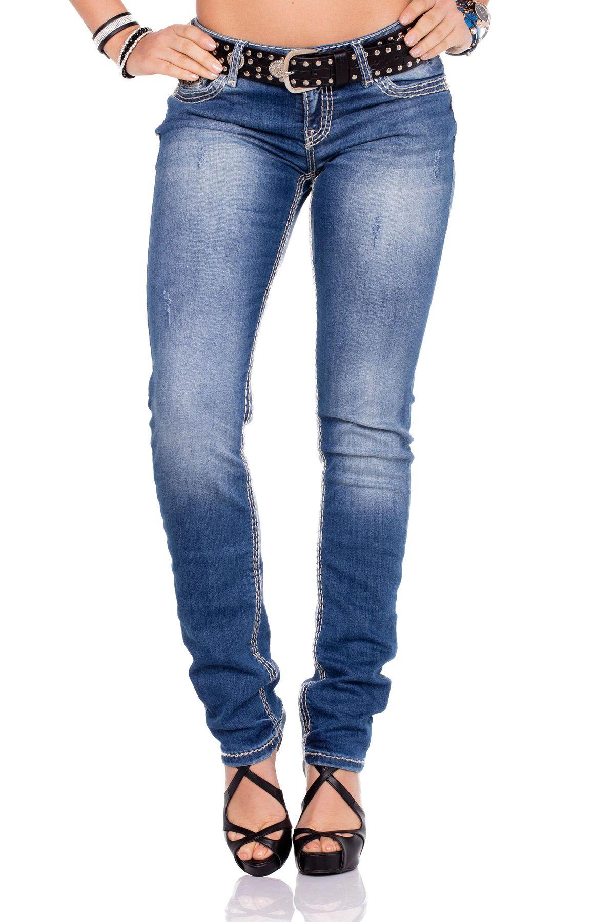 Details zu CIPO & BAXX Damen Jeans WD201 Regular Fit mit oder ohne Gürtel