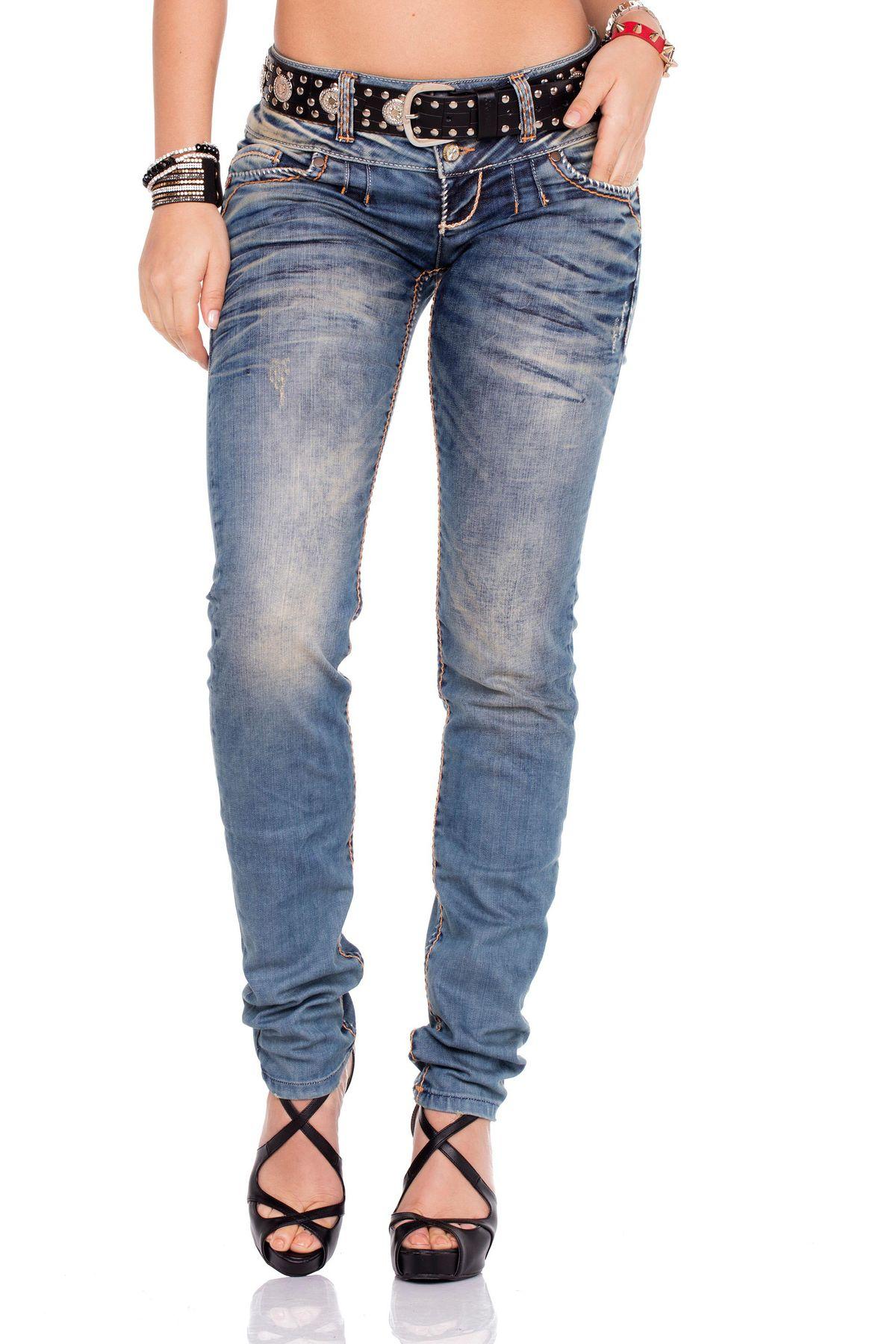 CIPO /& BAXX Damen Jeans CBW-0347 CBW-347 Slim Fit mit oder ohne Gürtel