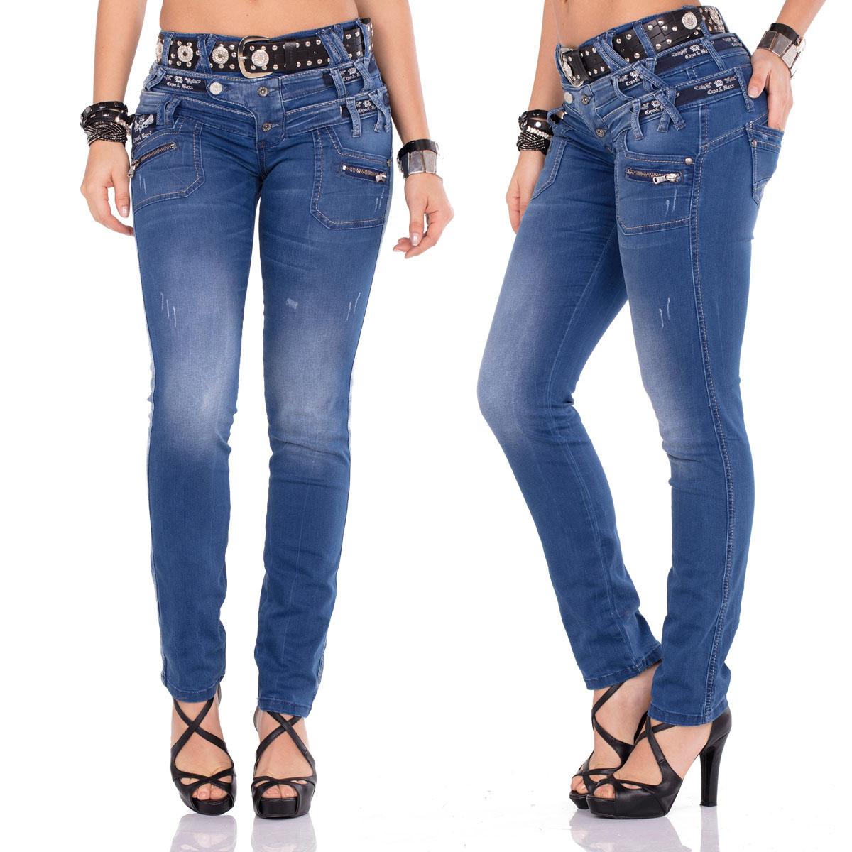 CIPO /& BAXX Damen Jeans CBW-347A hellblau Slim Fit Skinny mit oder ohne Gürtel
