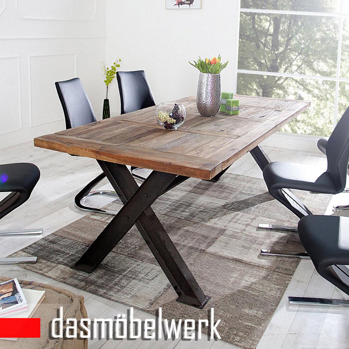 Esstisch massivholz tisch 230 cm industrie design metall for Esstisch designklassiker