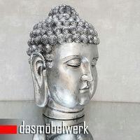 XL Buddha Deko Kopf 52 cm Figur Feng Shui Asia Skulptur S081 a-silber – Bild 2