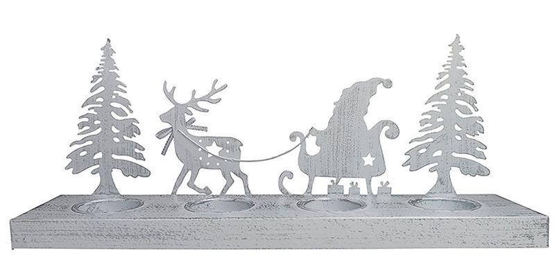 Teelichthalter Rentier Schlitten Weihnachten Metall Kerzenhalter Shabby – Bild 3