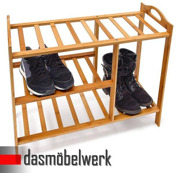 Bambus Schuhregal Schuhschrank Regal Schuhe 3 Ebenen Stiefelfach 46316 – Bild 3