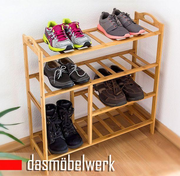 Bambus Schuhregal Schuhschrank Regal Schuhe 4 Ebenen Stiefelfach 46323 – Bild 4