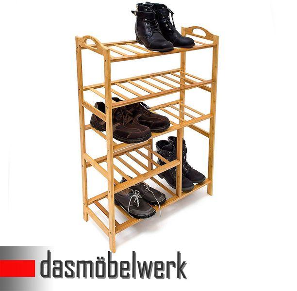 Bambus Schuhregal Schuhschrank Regal Schuhe 5 Ebenen Stiefelfach 46330