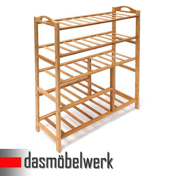 Bambus Schuhregal Schuhschrank Regal Schuhe 5 Ebenen Stiefelfach 46330 – Bild 2