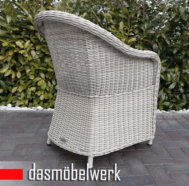 Polyrattan Garten Dining Sessel mit Polster PANAMA Silber Grau – Bild 3