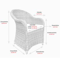 Polyrattan Garten Dining Sessel mit Polster PANAMA Silber Grau – Bild 5
