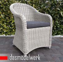 Polyrattan Garten Dining Sessel mit Polster PANAMA Silber Grau – Bild 1