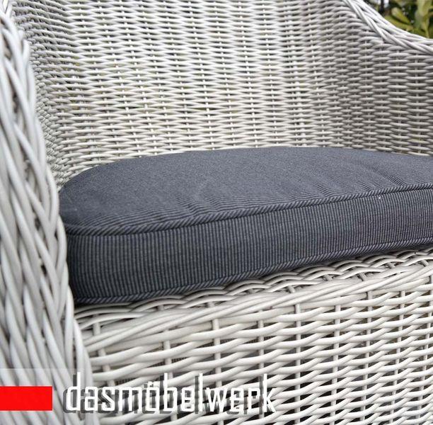 4 Stk Polyrattan Garten Dining Sessel mit Polster PANAMA Silber Grau – Bild 4
