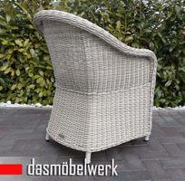 4 Stk Polyrattan Garten Dining Sessel mit Polster PANAMA Silber Grau – Bild 3
