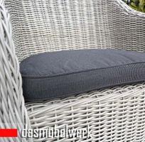 6 Stk Polyrattan Garten Dining Sessel mit Polster PANAMA Silber Grau – Bild 4