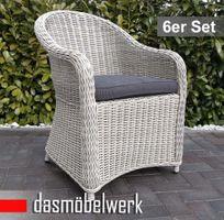 6 Stk Polyrattan Garten Dining Sessel mit Polster PANAMA Silber Grau – Bild 1