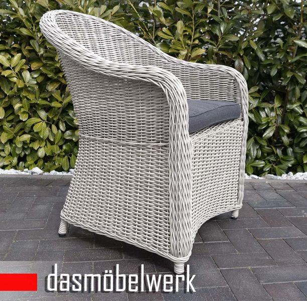 8 Stk Polyrattan Garten Dining Sessel mit Polster PANAMA Silber Grau – Bild 2