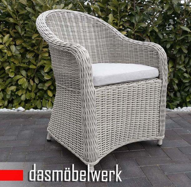 Polyrattan Garten Dining Sessel mit Polster PANAMA Silber Hell