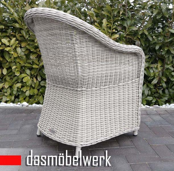Polyrattan Garten Dining Sessel mit Polster PANAMA Silber Hell – Bild 3