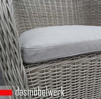 Polyrattan Garten Dining Sessel mit Polster PANAMA Silber Hell – Bild 4