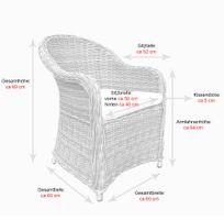 6 Stk Polyrattan Garten Dining Sessel mit Polster PANAMA Silber Hell – Bild 5