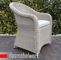 6 Stk Polyrattan Garten Dining Sessel mit Polster PANAMA Silber Hell – Bild 2