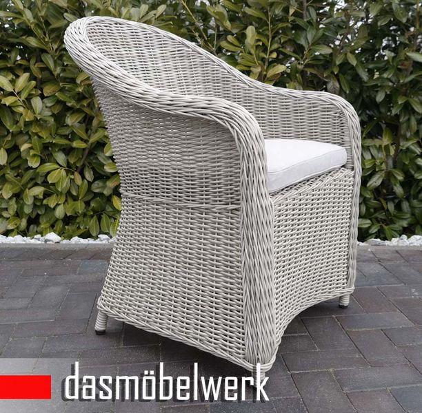 8 Stk Polyrattan Garten Dining Sessel mit Polster PANAMA Silber Hell – Bild 2
