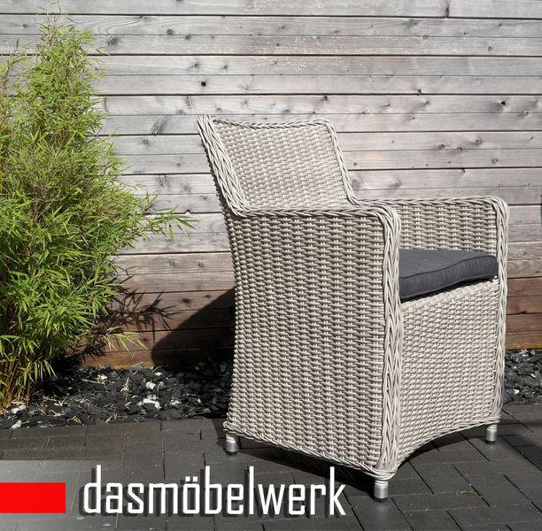 Polyrattan Rattan Dining Garten Sessel Gartenmöbel LILIE Silber Grau  – Bild 2