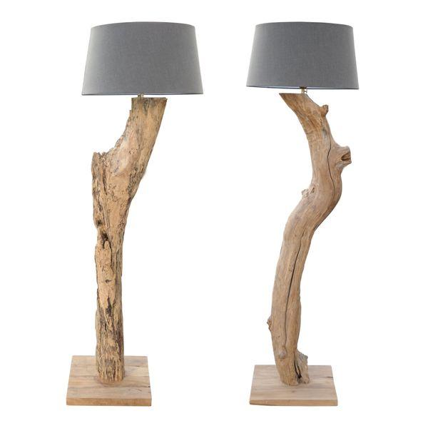XXL Stehlampe Leuchte massiv Teak Wurzel Holz Lampe Schirm Hell Grau