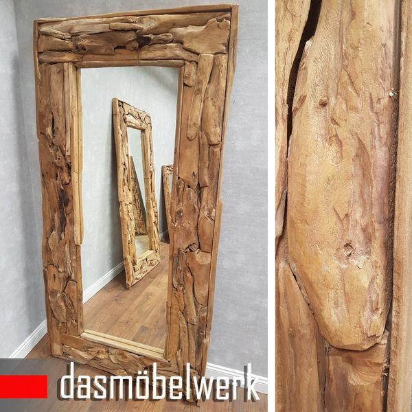 XXL Wandspiegel Spiegel Wurzel Teak Holz Rahmen 180 cm