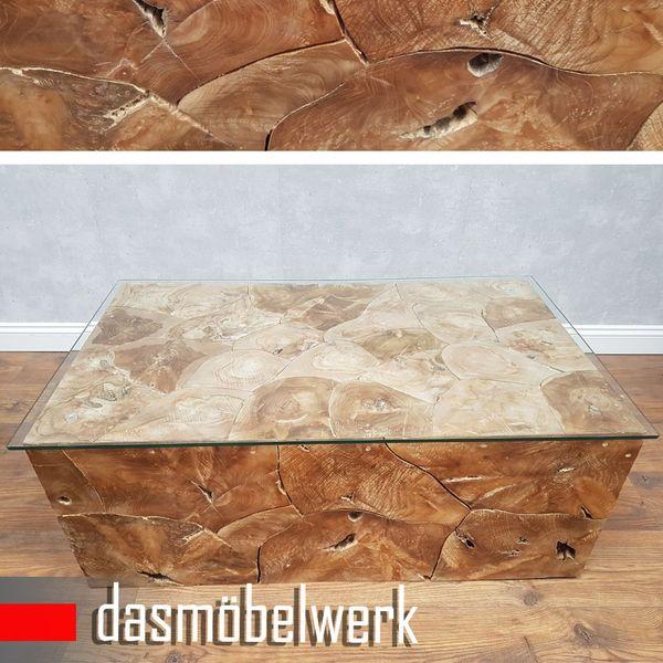 Recycling Teak Holz Beistelltisch Couchtisch Kaffee Tisch ROOT 100 cm – Bild 2