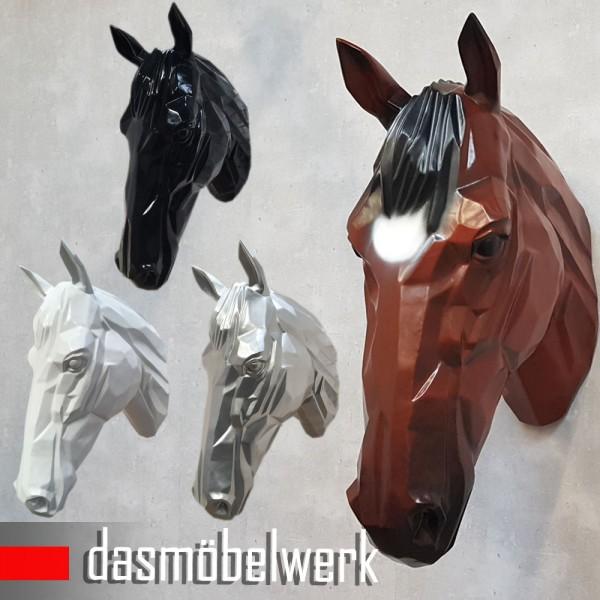 XXL Pferdekopf Wand Figur Skulptur Horse Pferd Kopf Dekoration silber – Bild 4