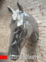 XXL Pferdekopf Wand Figur Skulptur Horse Pferd Kopf Dekoration silber – Bild 2