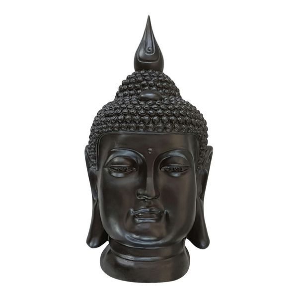 XL Buddha Deko Kopf 54 cm Figur Feng Shui Asia Skulptur S082 schwarz