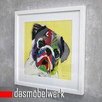 Wand Bild abstrakt Hund mit Holzrahmen Kunstdruck Mops Collage  – Bild 2